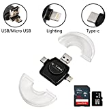 SD/TF Kartenleser,G-TING Lightning/ USB/ Micro USB/ USB-C Card Reader (Weiß)