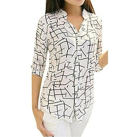 Chemises Femme, FeiTong Elégant mousseline imprimé à manches longues Slim Blouses Mode féminine (M)