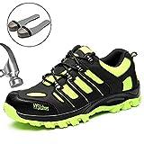 SUADEEX Damen Herren Sicherheitsschuhe Sportlich Trekking Wanderhalbschuhe Stahlkappe Arbeitsschuhe Hiking Schuhe Traillaufschuhe, 03-grün, 42 EU