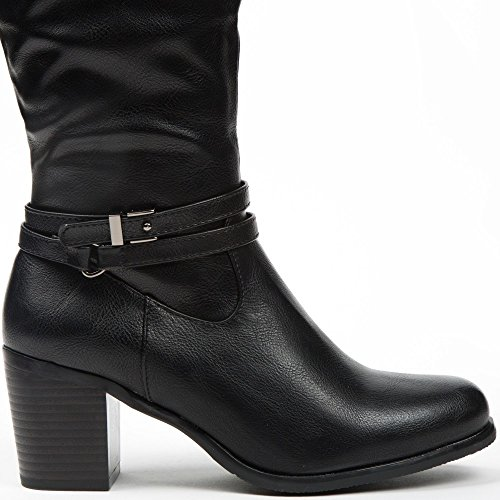 Ideal Shoes Bottes en Similicuir avec Doubles Ceinturons Calysta Noir