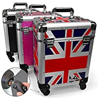 Pro Mobile Trolley Cosmetics Hairdresser Beautician Makeup Manicure Vanity Trolley Case (Union Jack)
