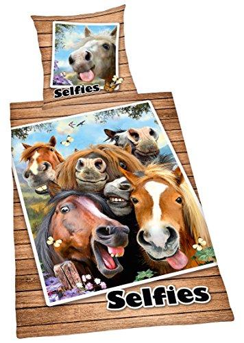 1f330ba1f9 Bettwäsche Selfies Pferde, Kopfkissenbezug 80x80cm, Bettbezug 135x200cm,  mit Marken-RV, Renforce