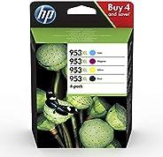 HP 953XL 3HZ52AE, Negro y Tricolor, Cartuchos de Tinta de Alta Capacidad Originales, Pack de 4, compatible con