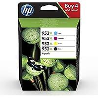 HP 953XL 3HZ52AE, Negro y Tricolor, Cartuchos de Tinta de Alta Capacidad Originales, Pack de 4, compatible con impresoras HP OfficeJet Pro 7720, 7730, 7740, OfficeJet Pro Series 8000