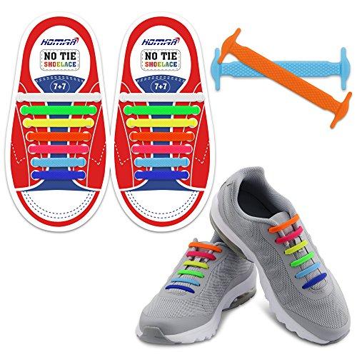 Homar-Kind-elastische Athletisch Flat No Tie Schnürsenkel - Best in Sport Im Freien Fan Shop Schuhe Schnürsenkel - ein für alle Mal Silicon Schnürsenkel Perfekt für Sneaker Stiefel Oxford Sportschuhe - Bunte - Sport Freien Im