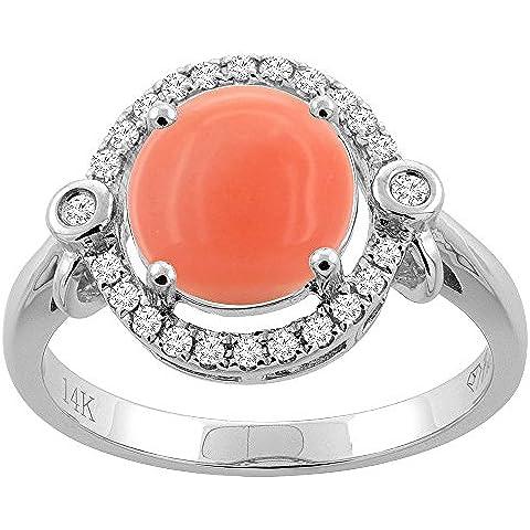 Revoni 14ct oro Coral Natural Oval 10 x 8 mm anillo de diamantes
