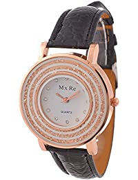 KMS Analogue White Dial Women's Watch - BLACK_Mxre_2RoundStone