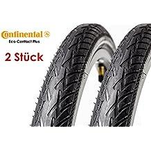 "2 Stück 26"" Zoll Continental Eco Contact Plus Fahrrad Reifen 47-559 Mantel Decke 26x1,75 Reflex Streifen tire schwarz City Trekking Bike"