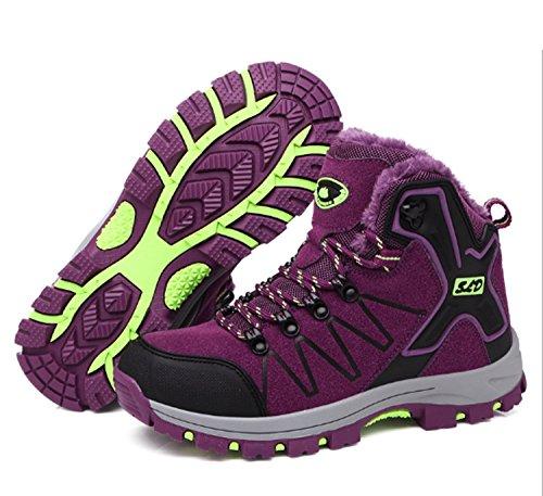 Scarpe da montagna da donna Ispessimento Caccia Scarpe da trekking Bici da corsa Scarpe da alpinismo Traspirante antiscivolo Sport casuali Outdoor High-Top Viola