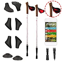 Idea Regalo - Bastoncini nordic walking lady con sistema telescopico, anti-shock e ammortizzante - Lunghezza regolabile da 67 fino a 136 cm - 6 tacchetti di ricambio + 2 piastre incluse nella confezione