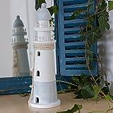 Antikas Leuchtturm Dekoration | Maritime Skulptur | Badezimmer Deko | mit Netz und Muscheln