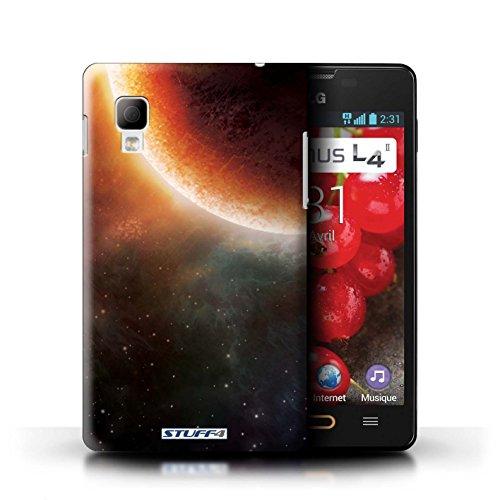 Kobalt® Imprimé Etui / Coque pour LG Optimus L4 II/E440 / Planète Verte conception / Série Cosmos Éclipse Orange