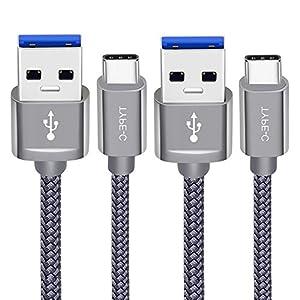 Cable USB tipo C, [2-Pack] Snowkids USB C a USB 3.0datos cable de carga 6.6ft (2M), trenzado de nailon cargador rápido para Samsung Galaxy S8/S8+, Note 8, Google Pixel, LG G5/G6, mate10, Nexus 5X/6P, Sony Xperia (color gris)