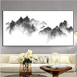 Pintura Al Óleo Pintura abstracta del paisaje Minimalista en blanco y negro Cuadro de la pared para la sala de estar Tinta Montaña Decoración para el hogar Imprimir póster-50cmx65cm