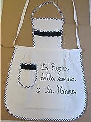 Idea Regalo - Trama Toscana Grembiule Donna Cuoca cm 60x90 in Cotone 100% con Dedica per la Vostra Nonna