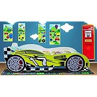 Children Boys Kids Racing Car Bed 160 x 80 cm Toddler Junior Mattress UK manufacturer (Lime)