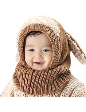 Butterme Winter Baby Kinder Mädchen Jungen Warme Wollene Haube Strickmütze Schal Mützen Wolle Hüte Khaki