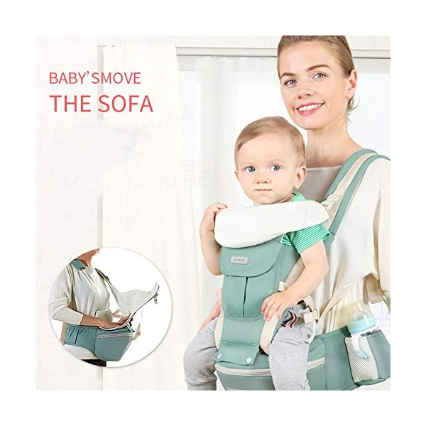 Baby Carrier Hip Seat 6 in 1 Baby Carrier Backpack 0-36 Months, Convertible Baby Carrier (Color : Green) JIE KE 【Easy to Use】Simple and safe design helps you quickly put on and take off to carry your baby for short periods of time. It is very easy and simple to place or pick up your baby with belt buckle design. Buckles are noiseless and super strong, it's quick and easy to unbuckle the entire baby carrier and lay your sleeping baby down. 【100% Cotton】All our baby carriers are made of high quality fabric and free from harmful substances. The fabric is breathable, skin-friendly and soft, it is made of 100% premium natural cotton to to keep baby's soft skin safe and comfort baby wearing in four seasons. Adequate safety tests ensure the soft fabrics gently hug your baby's back, legs and hips, and provide good support. 【Waist Belt & Shoulder Straps】Upgraded wide waist belt and shoulder straps padded with soft material eases pressure on the back and shoulder, releasesing burden in a large extent when you carry your baby. Luxuriously thick and soft padding in the shoulder straps give you superior carrying comfort and prevent straps from slipping off. Adjustable shoulder straps are suitable for moms and dads of all shapes and sizes. You won't feel tired while carrying baby for a long time. 1