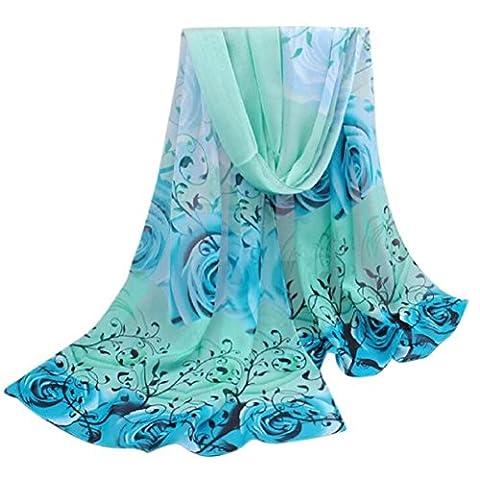 Fami Belle Motif Rose en mousseline de soie Châle Wrap Wraps Foulards pour les femmes (Bleu)