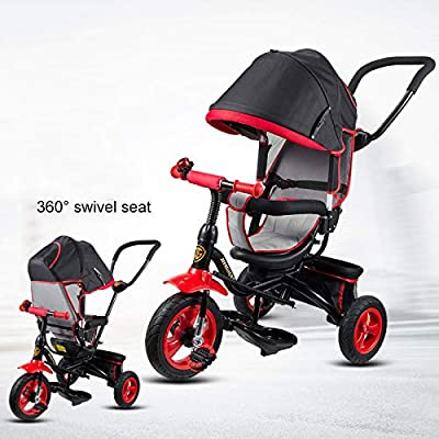 BGHKFF 3 In 1 Children's Hand Push Tricycle 6 Months To 5 Years Rear Wheel With Brake Children's Pedal Tricycle Comfortable And Adjustable Backrest Child Trike Maximum Weight 25 Kg,Black