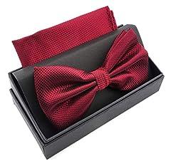 Idea Regalo - Massi Morino Papillon con fazzoletto in confezione regalo, papillon - set in diversi colori in microfibra, fiocco regolabile con fazzoletto coordinato (Rosso scuro)