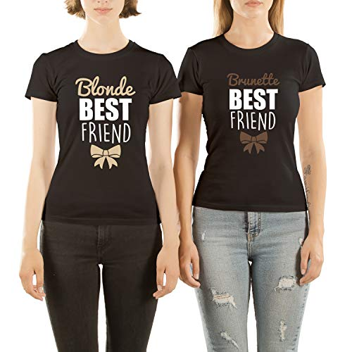 Mädchen T Shirt Set für Damen mit Lustige Aufdruck Blonde and Brunette Are Best Friends ()