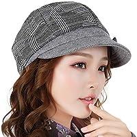 Sombrero - Otoño e Invierno Moda Salvaje Sombrero Casual Señoras Beret Plaid Sombrero Decoración de Arco (opción de 2 Colores) (Color : A)