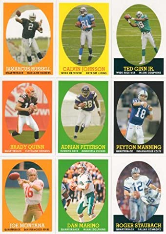 2007 Topps Football Turn Back the Clock 30 Card Limited Edition Set. Loaded with Stars and Rookies Including Adrian Peterson, Jamarcus Russell, Dan Marino, Brady Quinn, Vince Young, Roger Staubach, Jim Brown, Joe Montana, Barry Sanders, Jerry Rice, Joe Namath, Reggie Bush, Calvin Johnson, Ladainian Tomlinson, Peyton Manning and Others. by Topps