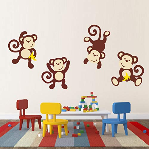 nging Monkey Aufkleber Jungle Theme Wandaufkleber Lively & Lovely Animal Removable Murals Für Kindergarten Kinderzimmer Dekoration,A 66cm X 20cm ()