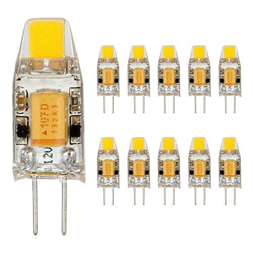 Preisvergleich Produktbild GreenSun 10er Pack G4 LED 1.5W Lampe COB Chip- Ersetzt 10W Halogenlampe - 120 Lumen - G4 LED Warmweiß - AC / DC 12V LED Leuchtmittel 360°