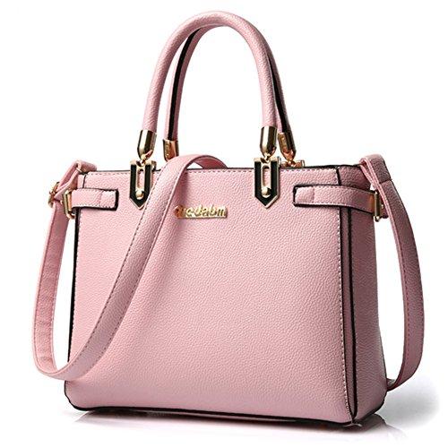 fanhappygo Fashion Retro Leder Damen elegant Tote einfach Umschlag Schulterbeutel Umhängetaschen rosa
