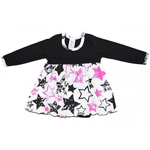 TupTam Baby Mädchen Body-Kleid Langarm Baumwolle, Farbe: Sterne Schwarz/Rosa, Größe: 80 (Baumwoll-kleid Perfekte)