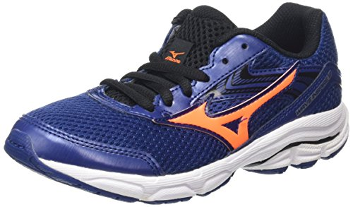 Mizuno - Wave Inspire 12 Jr - Chaussures de Running Compétition - Garçon - Bleu (Twilight Blue/Black/Clownfish) - 34.5 EU, 2.5 UK