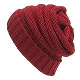 Berretti Invernali Donna Berretti in Maglia, Cappello Caldo morbido Slouchy protezione del Beanie in inverno per Donna e Uomo (Rosso)