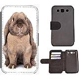 Kuna 2 - Funda con tapa para teléfono móvil, tela plástico piel, 1090 Haase Kaninchen Rabbit Grau, Samsung Galaxy J5 (Modell 2016) J510