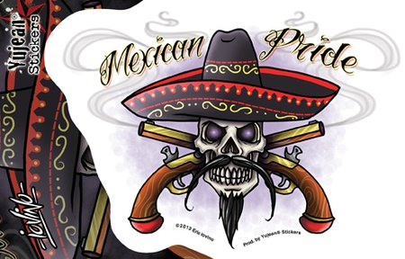 "Eric Lovino - Mexican Pride Fierce Skull Sombrero Crossed Smoking Pistols - 6"" x 4"" autocollant Sticker Decal - Weather Resistant, Long Lasting for Any Surface"