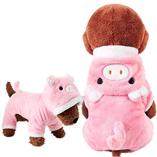 Halloween-Kostüm, Einhorn, weiches Fleece, Haustier-Kostüm, warm, Haustier Pyjama Kleidung Vierbein-Jumpsuit Cosplay Outfit xl schwein