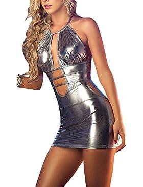 DELEY Donne Sexy Lingerie Backless Brevetto In Pelle Mini Abito Erotica Tentazione Nightclub Wetlook Clubwear