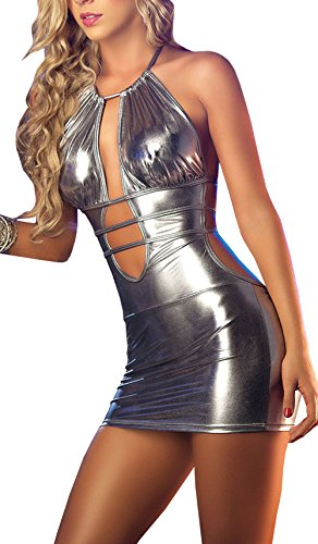 DELEY Damen Dessous Lace-Up Rückenfrei PU Leder Metallic Minikleid Nachtclub Wetlook Clubwear Partykleid Negligee Silber
