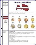 Vordruckblatt EURO COLLECTION: 3 Kursmünzensätze Lettland [Lindner 8450-21] Vordruckblatt inkl. Münzblatt