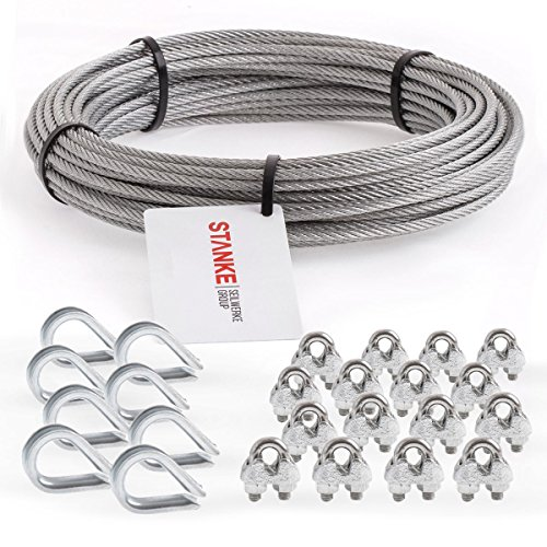 Seilwerk STANKE Rankhilfe Drahtseil verzinkt 20m Stahlseil 3mm 6x7, 8x Kausche, 16x Bügelformklemme - SET 3