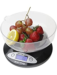 Smart Weigh CBS2KG Báscula Digital para Cocina con tazón removible de 2000 g x 0.1 ...