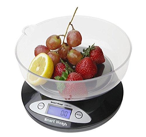 Smart Weigh CBS2KG Báscula Digital para Cocina con tazón removible de 2000 g x 0.1 g - Negra