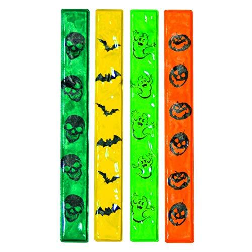 Trixes Bunte Selbstklebende Halloween Reflektor-Sicherheits Bänder 4-er Pack mit Verschiedenen Designs Kürbis Fledermaus Geist und Schädel (Halloween-kostüm Girl Glow)
