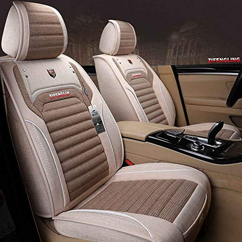 easons Pad Kompatibel mit Airbag-Sitzbezug Vorne und Hinten 5-Sitzer Universal-Autositzbezug aus Leinen,lightbrown ()