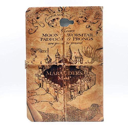 YHB Galaxy Tab A 10.1Fall, Einzigartige. Hogwarts Marauder 's Map Vintage Retro Muster Leder Flip Ständer Schutzhülle für Samsung Galaxy Tab A 10,1Zoll sm-t580/T585/T587, (Keine für S Pen Version)