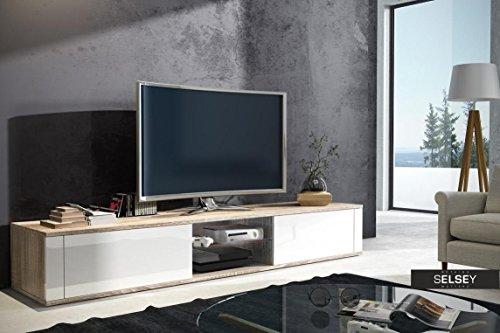 Élégant Meuble TV avec (Sonoma/Blanc Brillant)