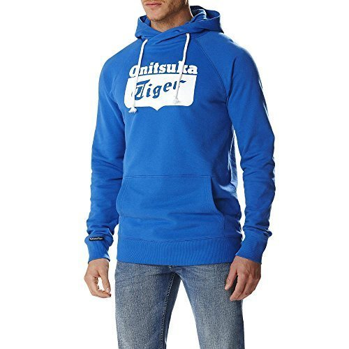Onitsuka Tiger Felpa con Cappuccio Logo Core Hoodie, Strong Blue-L