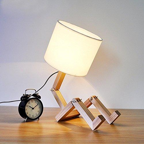Kreative Mode (Roboter Schreibtischlampe, T-MIX Einfache Mode Kreative Persönlichkeit E27 Lichtquelle Holz Tischlampen Studie Lampe Für Kinder Schlafzimmer Büro Wohnzimmer Dekorative Beleuchtung)
