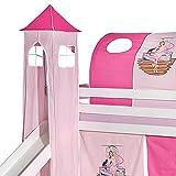 IDIMEX Turm Ballerina zu Bett mit Rutsche, Spielbett, Rutschbett, Kinderbett in rosa/pink